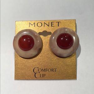 Monet Vintage Signed Clip Earrings